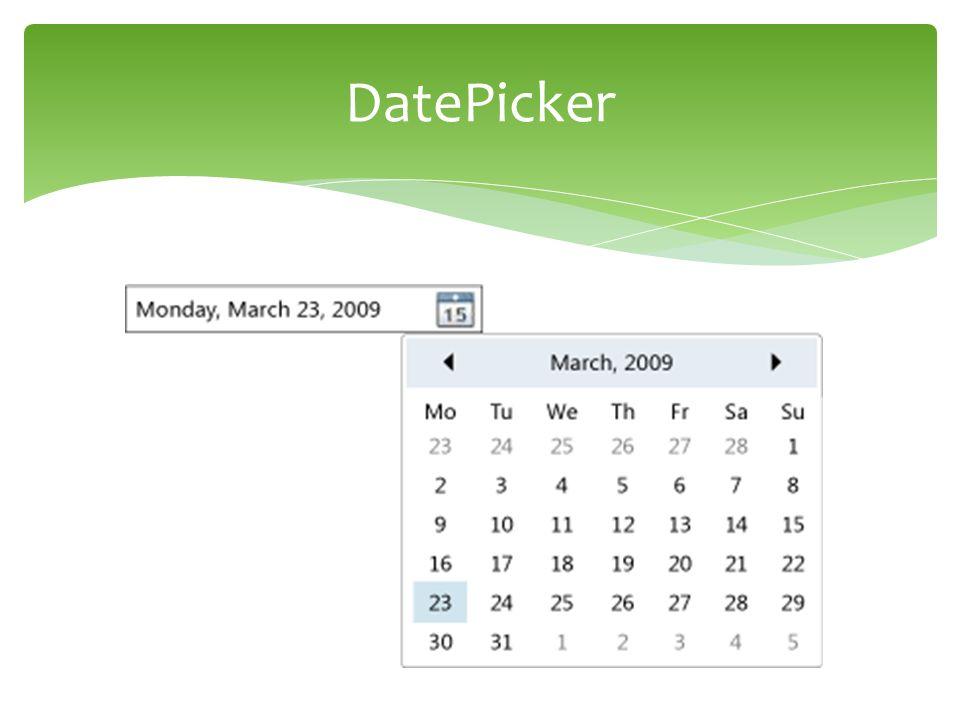  Ukázka DataGrid, Calendar, DatePicker