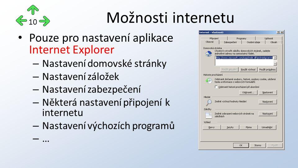 Pouze pro nastavení aplikace Internet Explorer – Nastavení domovské stránky – Nastavení záložek – Nastavení zabezpečení – Některá nastavení připojení k internetu – Nastavení výchozích programů – … Možnosti internetu 10