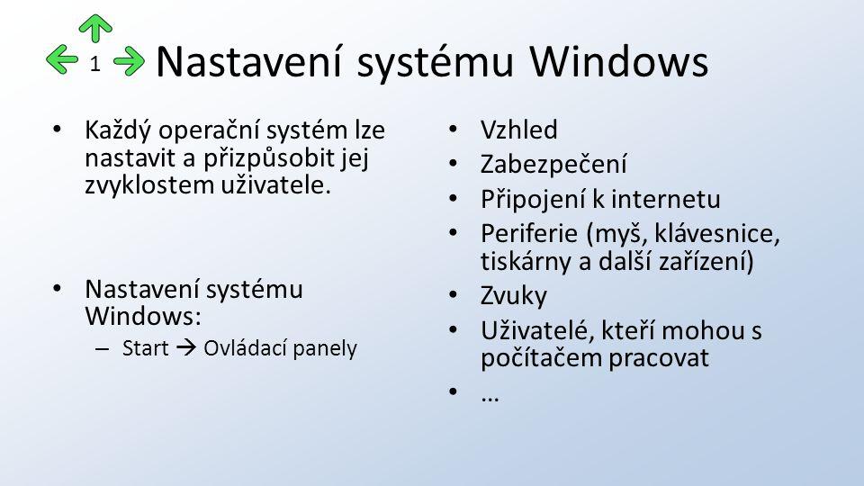 Nastavení systému Windows Každý operační systém lze nastavit a přizpůsobit jej zvyklostem uživatele.