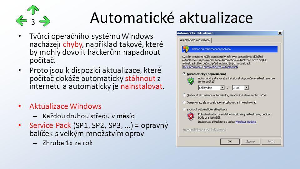 Umožňuje pohyb kurzoru myši po obrazovce pomocí kláves na numerické klávesnici Doporučené nastavení: – Používat funkci Myš klávesnicí, je-li indikátor Num Lock: Vypnutý Možnosti usnadnění – myš 14
