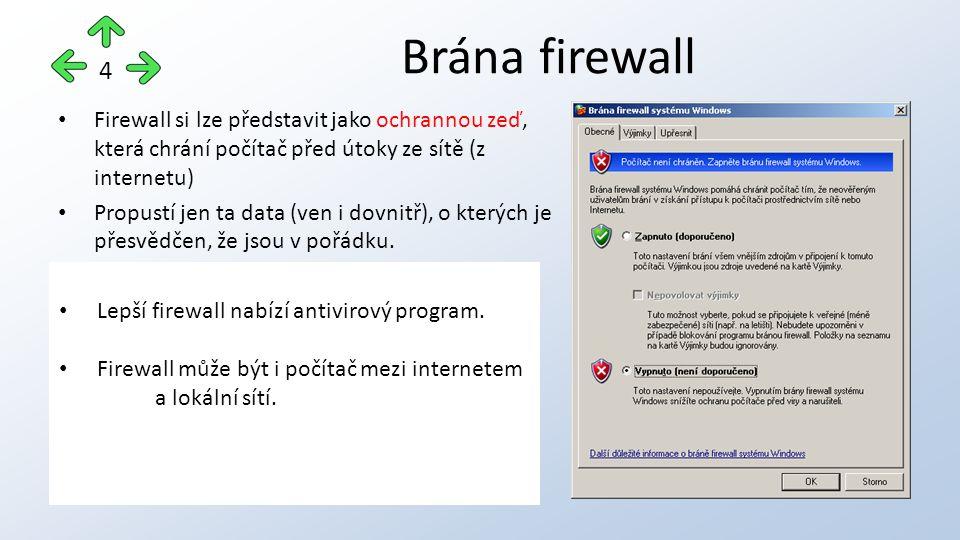 Firewall si lze představit jako ochrannou zeď, která chrání počítač před útoky ze sítě (z internetu) Propustí jen ta data (ven i dovnitř), o kterých je přesvědčen, že jsou v pořádku.