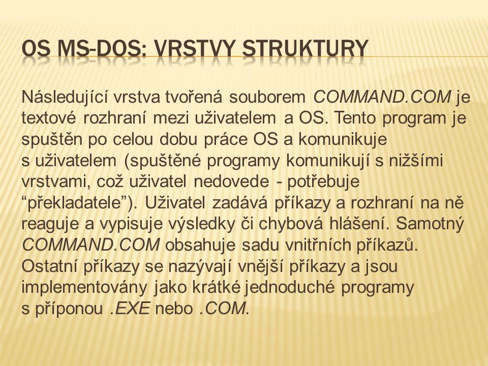 Následující vrstva tvořená souborem COMMAND.COM je textové rozhraní mezi uživatelem a OS.