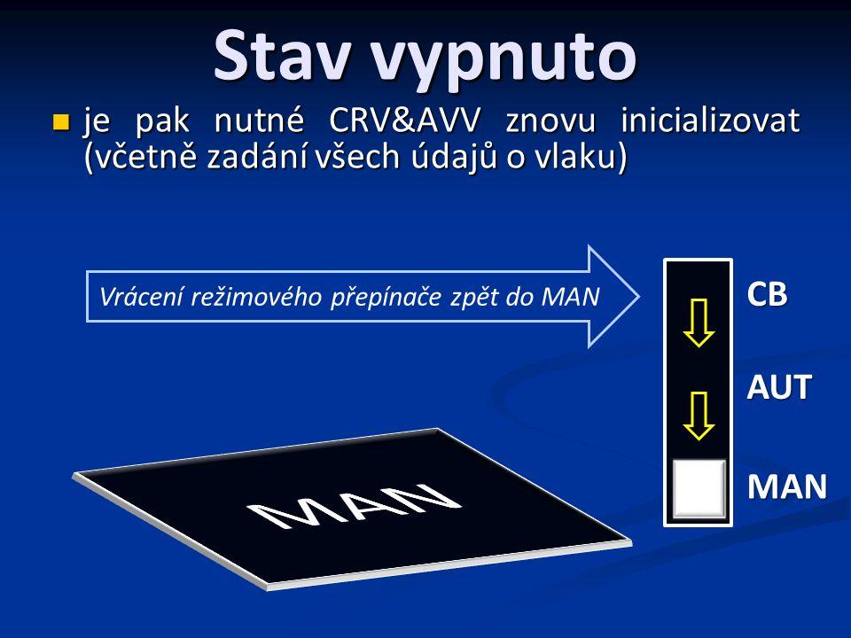 Stav vypnuto je pak nutné CRV&AVV znovu inicializovat (včetně zadání všech údajů o vlaku) je pak nutné CRV&AVV znovu inicializovat (včetně zadání všech údajů o vlaku) CB AUT MAN Vrácení režimového přepínače zpět do MAN