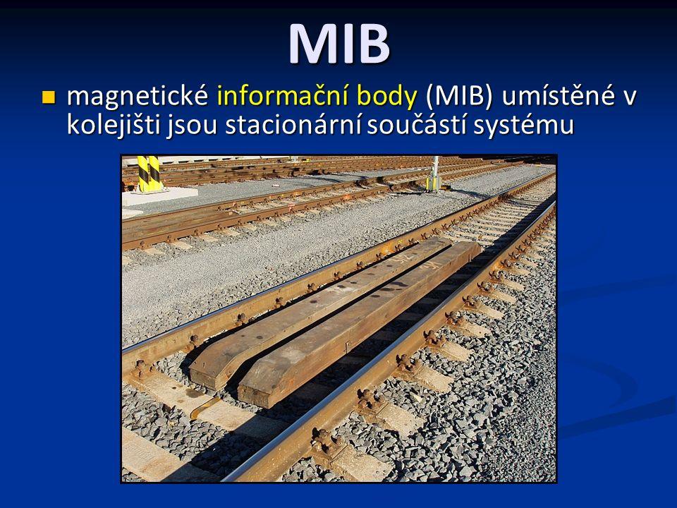 MIB informační body (MIB) v kolejišti poskytují vozidlovému software údaj o poloze vlaku informační body (MIB) v kolejišti poskytují vozidlovému software údaj o poloze vlaku dva stejné MIB neexistují a to na základě rozmístění a polarity magnetů podle přijatého matematického modelu dva stejné MIB neexistují a to na základě rozmístění a polarity magnetů podle přijatého matematického modelu Například nejjednodušší Hammingův kód (7, 4, 3) = 7 cifer, 4 informační, 3 kontrolní 1 = 0 0 1 2 = 0 1 0 3 = 0 1 1 4 = 1 0 0 5 = 1 0 1 6 = 1 1 0 7 = 1 1 1 Vyjádření podle 8421 a1 + a3 + a5 + a7 = e1 = 0 (místo jednotek) Kontrolní cifry zajišťují sudý počet jedniček na příslušných pozicích dvojkové soustavy a pokud je při přenosu e1 = e2 = e3 = 0, je informace správně přenesena.