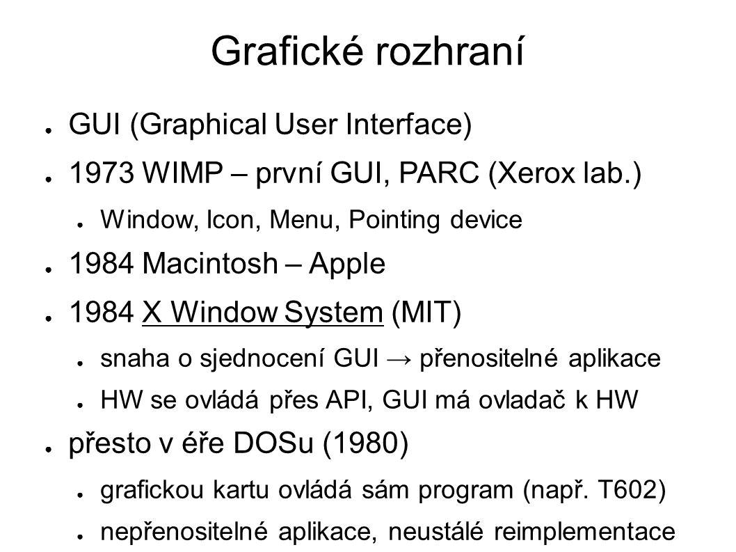 Grafické rozhraní ● GUI (Graphical User Interface) ● 1973 WIMP – první GUI, PARC (Xerox lab.) ● Window, Icon, Menu, Pointing device ● 1984 Macintosh –