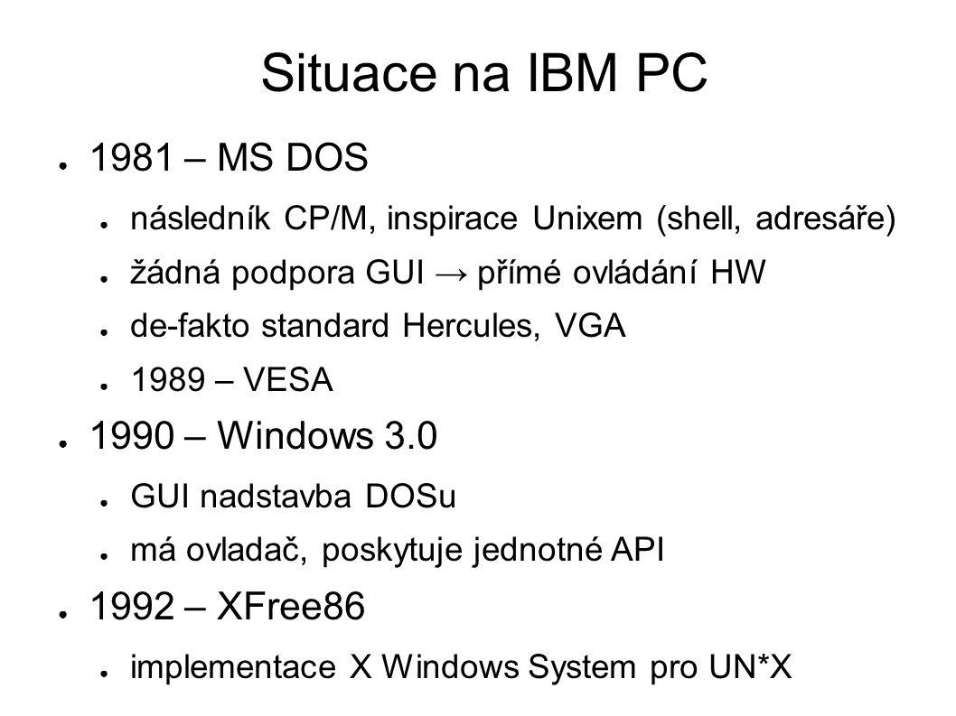 Situace na IBM PC ● 1981 – MS DOS ● následník CP/M, inspirace Unixem (shell, adresáře) ● žádná podpora GUI → přímé ovládání HW ● de-fakto standard Hercules, VGA ● 1989 – VESA ● 1990 – Windows 3.0 ● GUI nadstavba DOSu ● má ovladač, poskytuje jednotné API ● 1992 – XFree86 ● implementace X Windows System pro UN*X