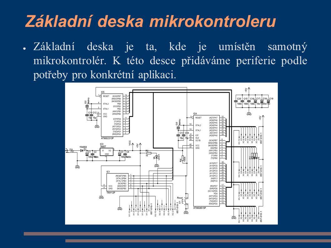 ● Základní deska je ta, kde je umístěn samotný mikrokontrolér.