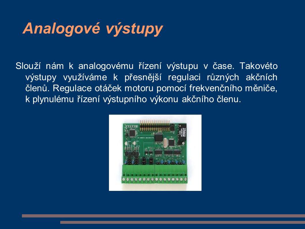 Analogové výstupy Slouží nám k analogovému řízení výstupu v čase.