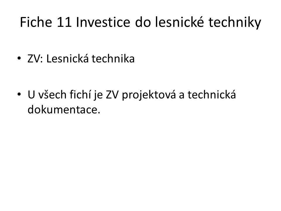 Fiche 11 Investice do lesnické techniky ZV: Lesnická technika U všech fichí je ZV projektová a technická dokumentace.