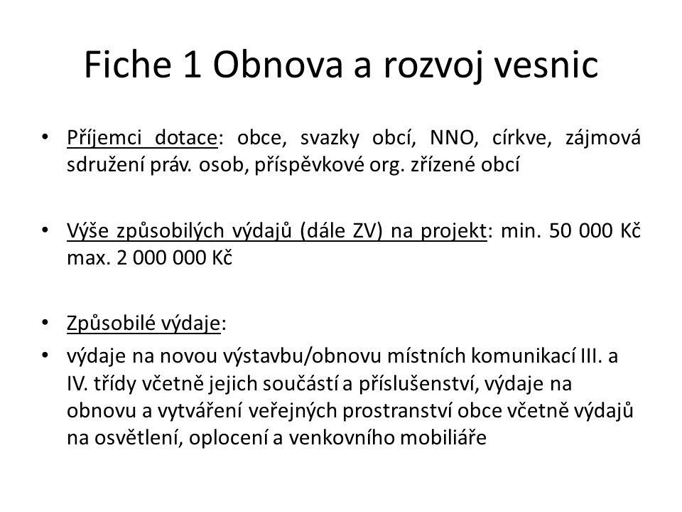 Fiche 1 Obnova a rozvoj vesnic Příjemci dotace: obce, svazky obcí, NNO, církve, zájmová sdružení práv.