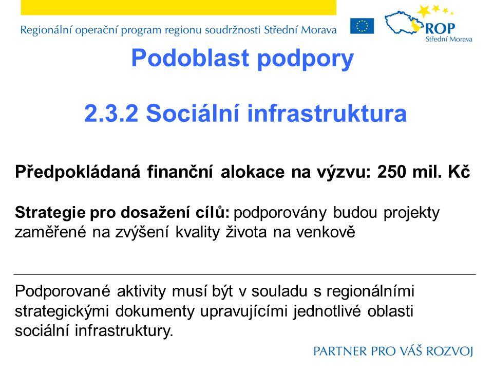 Podoblast podpory 2.3.2 Sociální infrastruktura Předpokládaná finanční alokace na výzvu: 250 mil. Kč Strategie pro dosažení cílů: podporovány budou pr