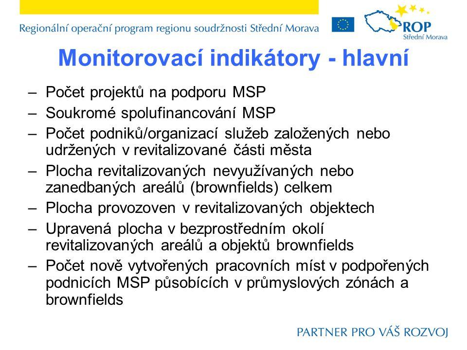 Monitorovací indikátory - hlavní –Počet projektů na podporu MSP –Soukromé spolufinancování MSP –Počet podniků/organizací služeb založených nebo udržen