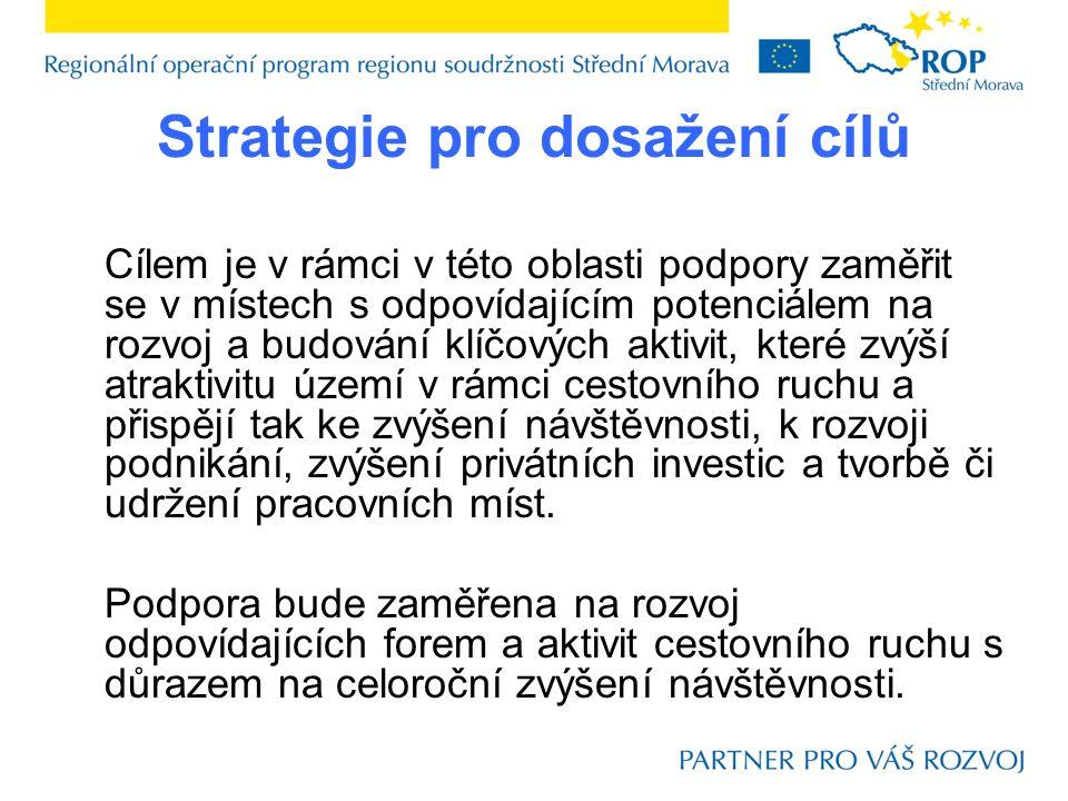 Strategie pro dosažení cílů Cílem je v rámci v této oblasti podpory zaměřit se v místech s odpovídajícím potenciálem na rozvoj a budování klíčových ak