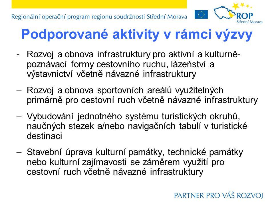 Podporované aktivity v rámci výzvy -Rozvoj a obnova infrastruktury pro aktivní a kulturně- poznávací formy cestovního ruchu, lázeňství a výstavnictví