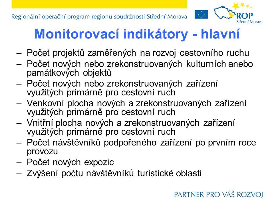 Monitorovací indikátory - hlavní –Počet projektů zaměřených na rozvoj cestovního ruchu –Počet nových nebo zrekonstruovaných kulturních anebo památkový
