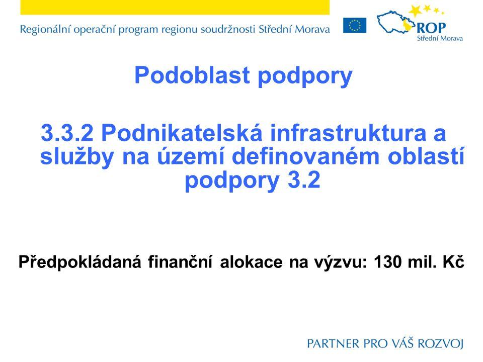 Podoblast podpory 3.3.2 Podnikatelská infrastruktura a služby na území definovaném oblastí podpory 3.2 Předpokládaná finanční alokace na výzvu: 130 mi