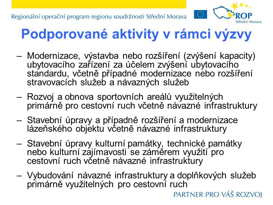 Podporované aktivity v rámci výzvy –Modernizace, výstavba nebo rozšíření (zvýšení kapacity) ubytovacího zařízení za účelem zvýšení ubytovacího standar