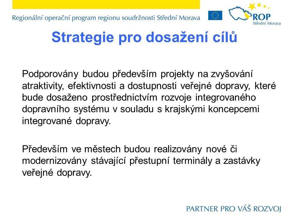Podporovány budou především projekty na zvyšování atraktivity, efektivnosti a dostupnosti veřejné dopravy, které bude dosaženo prostřednictvím rozvoje