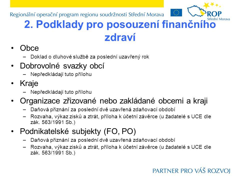 2. Podklady pro posouzení finančního zdraví Obce –Doklad o dluhové službě za poslední uzavřený rok Dobrovolné svazky obcí –Nepředkládají tuto přílohu