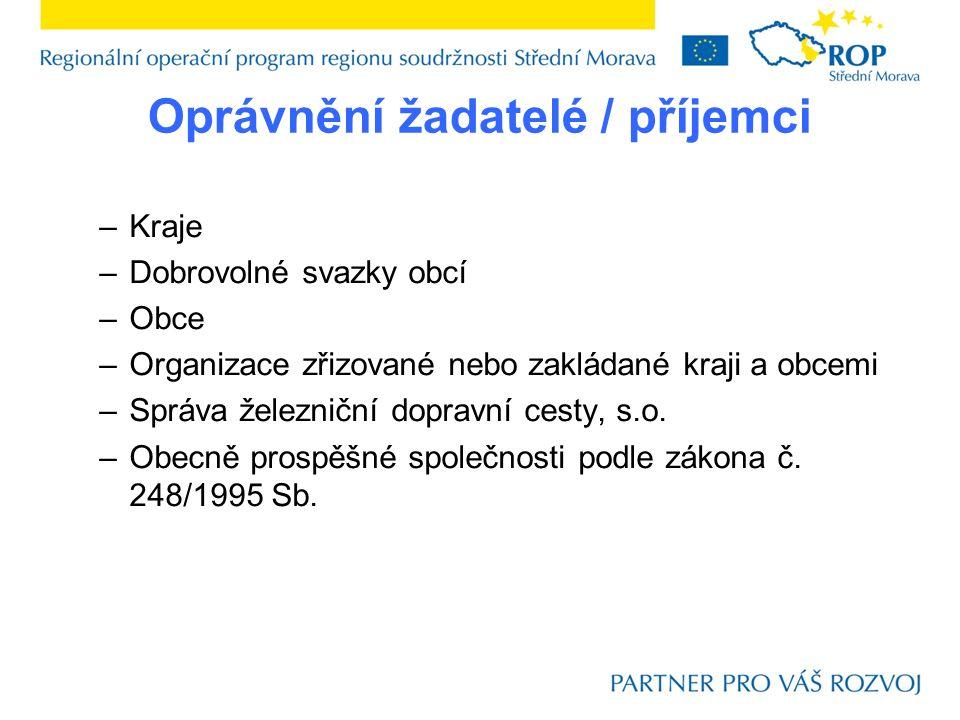 Struktura financování Projekty nezakládající veřejnou podporu: Projekty zakládající veřejnou podporu: