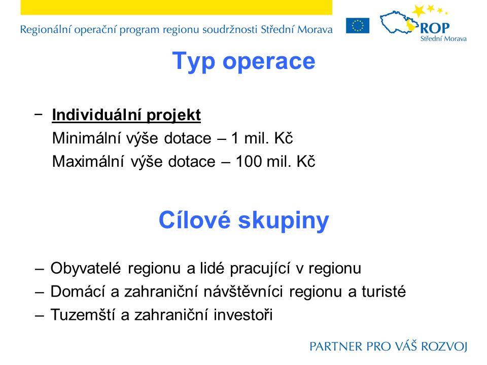 Typ operace −Individuální projekt Minimální výše dotace – 1 mil. Kč Maximální výše dotace – 100 mil. Kč Cílové skupiny –Obyvatelé regionu a lidé pracu