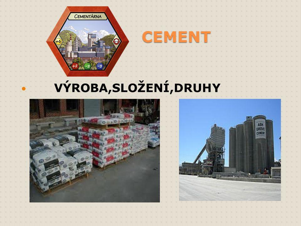 Cementy Cement Jemně mletá anorganická látka.Patří mezi hydraulické maltoviny.