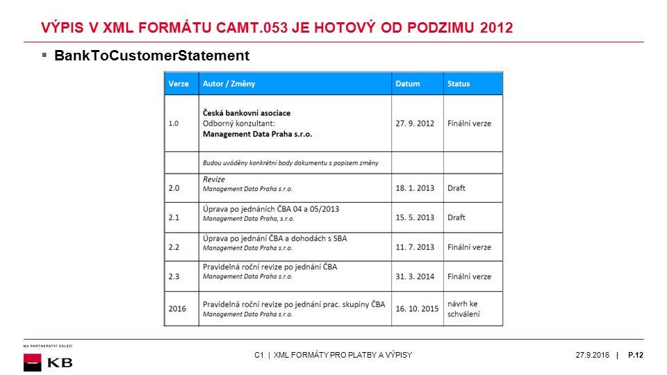 | VÝPIS V XML FORMÁTU CAMT.053 JE HOTOVÝ OD PODZIMU 2012  BankToCustomerStatement 27.9.2016P.12C1 | XML FORMÁTY PRO PLATBY A VÝPISY