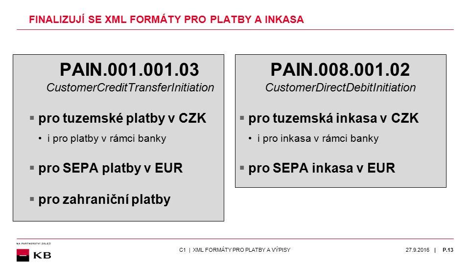 | FINALIZUJÍ SE XML FORMÁTY PRO PLATBY A INKASA PAIN.001.001.03 CustomerCreditTransferInitiation  pro tuzemské platby v CZK i pro platby v rámci bank