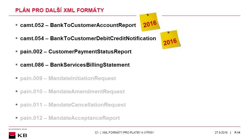 | PLÁN PRO DALŠÍ XML FORMÁTY  camt.052 – BankToCustomerAccountReport  camt.054 – BankToCustomerDebitCreditNotification  pain.002 – CustomerPaymentS