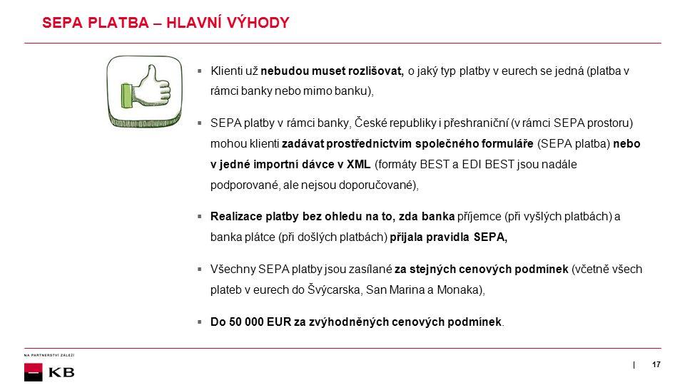 | SEPA PLATBA – HLAVNÍ VÝHODY  Klienti už nebudou muset rozlišovat, o jaký typ platby v eurech se jedná (platba v rámci banky nebo mimo banku),  SEP