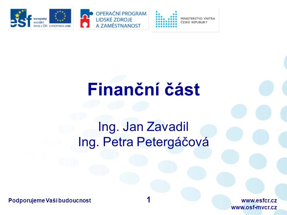 Finanční část Ing. Jan Zavadil Ing.
