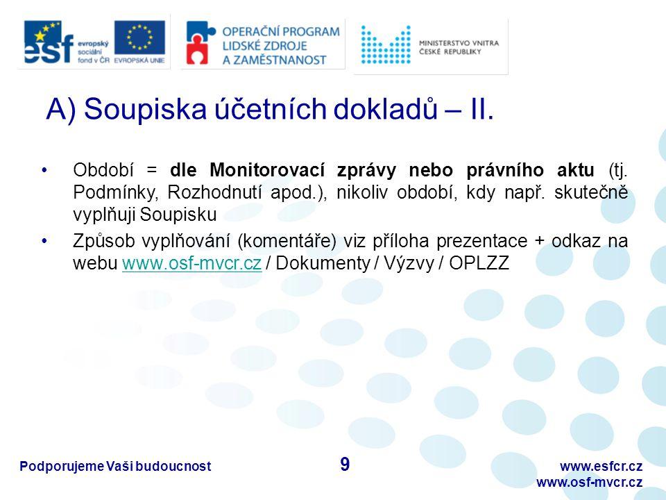 Podporujeme Vaši budoucnostwww.esfcr.cz www.osf-mvcr.cz A) Soupiska účetních dokladů – II.