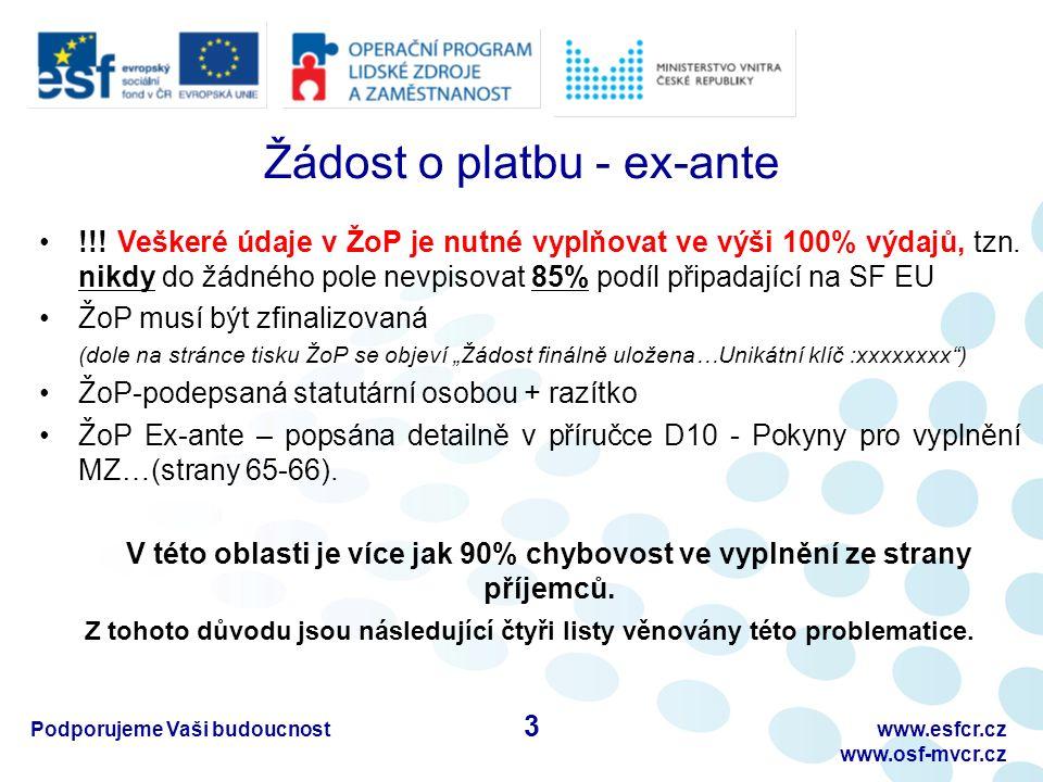 Žádost o platbu - ex-ante !!. Veškeré údaje v ŽoP je nutné vyplňovat ve výši 100% výdajů, tzn.
