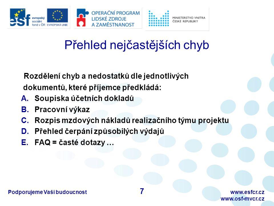 Podporujeme Vaši budoucnostwww.esfcr.cz www.osf-mvcr.cz A) Soupiska účetních dokladů – I.