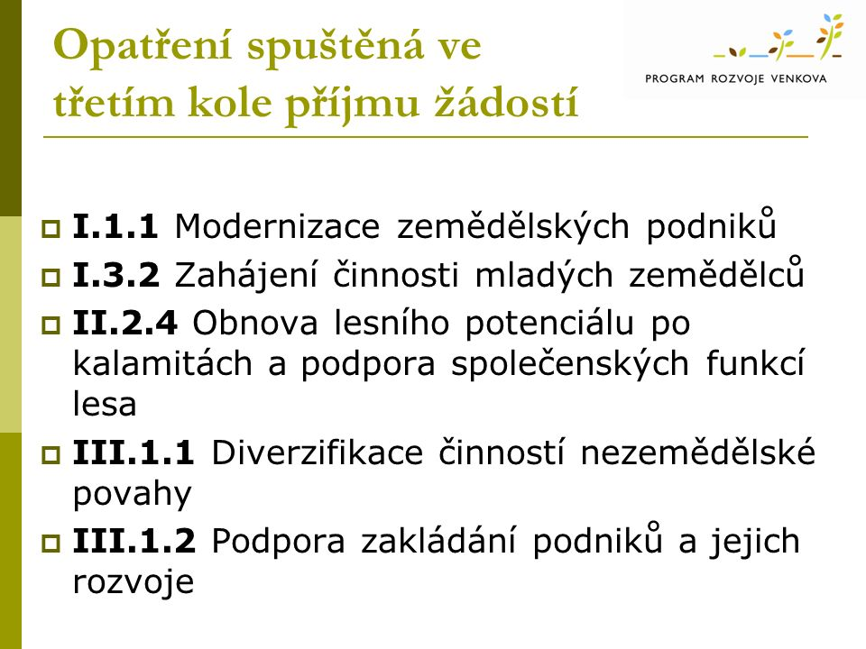 Opatření spuštěná ve třetím kole příjmu žádostí  I.1.1 Modernizace zemědělských podniků  I.3.2 Zahájení činnosti mladých zemědělců  II.2.4 Obnova lesního potenciálu po kalamitách a podpora společenských funkcí lesa  III.1.1 Diverzifikace činností nezemědělské povahy  III.1.2 Podpora zakládání podniků a jejich rozvoje