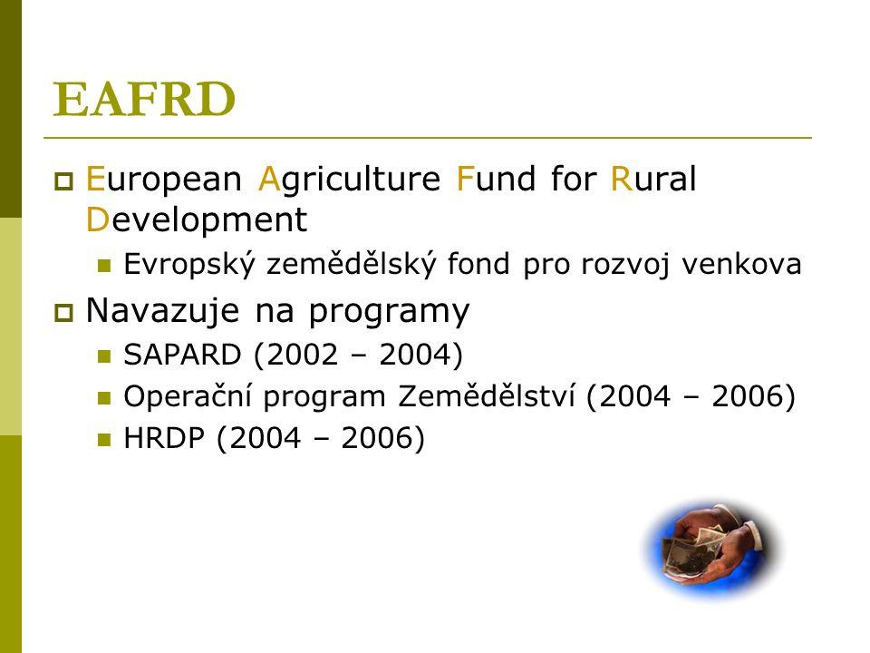 EAFRD  European Agriculture Fund for Rural Development Evropský zemědělský fond pro rozvoj venkova  Navazuje na programy SAPARD (2002 – 2004) Operační program Zemědělství (2004 – 2006) HRDP (2004 – 2006)