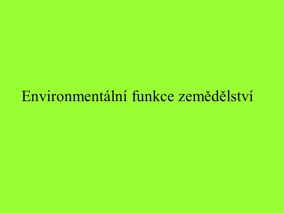 Funkce zemědělství Produkční funkce –Životní prostředí jako výrobní prostředek –Produkce potravin –Zásobárna obnovitelných a neobnovitelných zdrojů surovin a energie –Absorpce negativních externalit výroby Mimoprodukční funkce –Environmentální –Estetická –Historická –Kulturní –Naučná –Rekreativní –Hygienicko – léčebná –Sekuritativní –Sociální