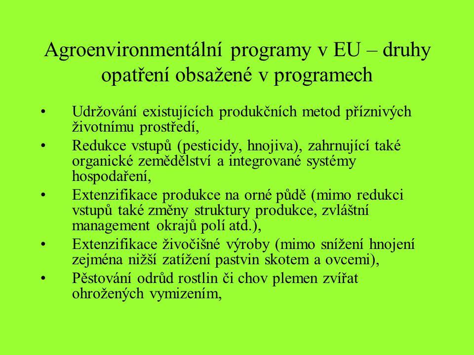 Agroenvironmentální programy v EU – druhy opatření obsažené v programech Udržování existujících produkčních metod příznivých životnímu prostředí, Redukce vstupů (pesticidy, hnojiva), zahrnující také organické zemědělství a integrované systémy hospodaření, Extenzifikace produkce na orné půdě (mimo redukci vstupů také změny struktury produkce, zvláštní management okrajů polí atd.), Extenzifikace živočišné výroby (mimo snížení hnojení zejména nižší zatížení pastvin skotem a ovcemi), Pěstování odrůd rostlin či chov plemen zvířat ohrožených vymizením,
