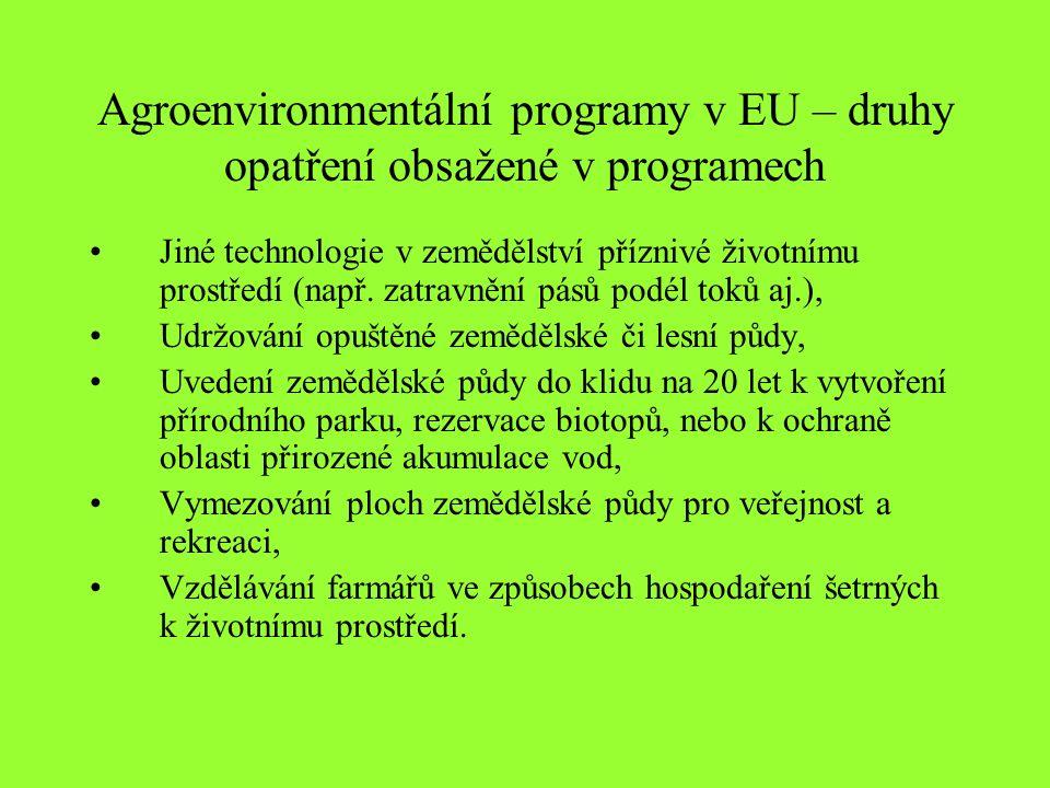 Agroenvironmentální programy v EU – druhy opatření obsažené v programech Jiné technologie v zemědělství příznivé životnímu prostředí (např.