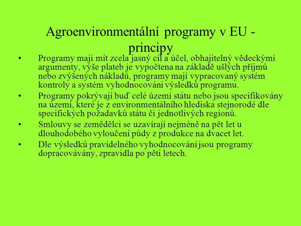 Agroenvironmentální programy v EU - principy Programy mají mít zcela jasný cíl a účel, obhajitelný vědeckými argumenty, výše plateb je vypočtena na základě ušlých příjmů nebo zvýšených nákladů, programy mají vypracovaný systém kontroly a systém vyhodnocování výsledků programu.