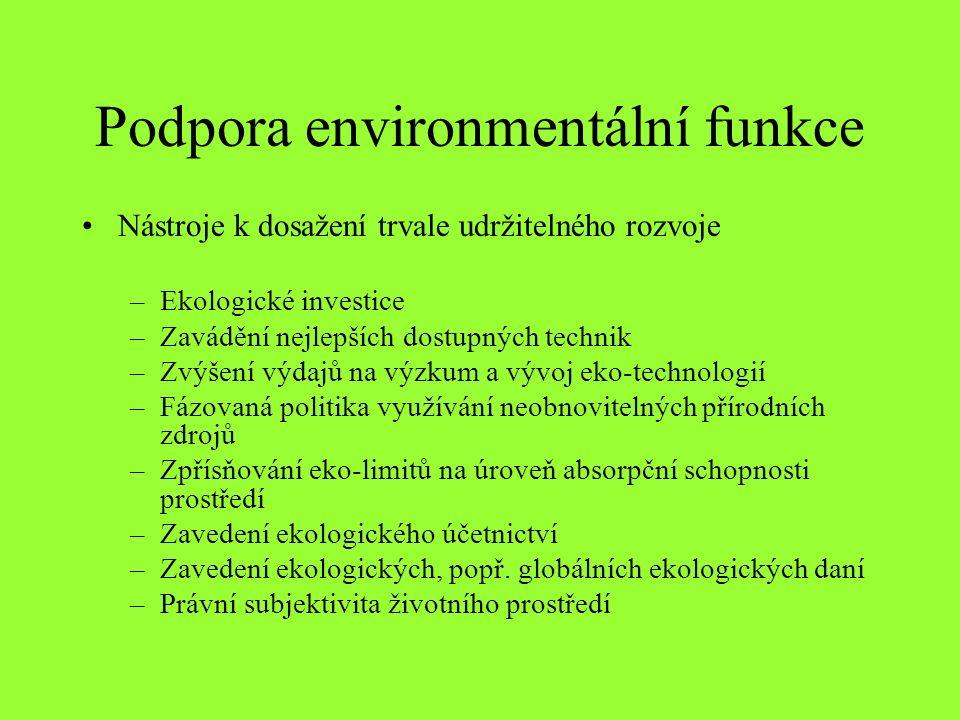 Podpora environmentální funkce Nástroje k dosažení trvale udržitelného rozvoje –Ekologické investice –Zavádění nejlepších dostupných technik –Zvýšení