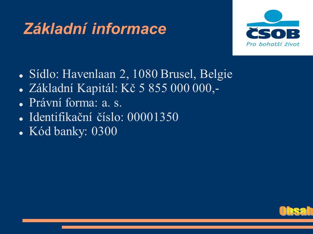 Základní informace Sídlo: Havenlaan 2, 1080 Brusel, Belgie Základní Kapitál: Kč 5 855 000 000,- Právní forma: a.