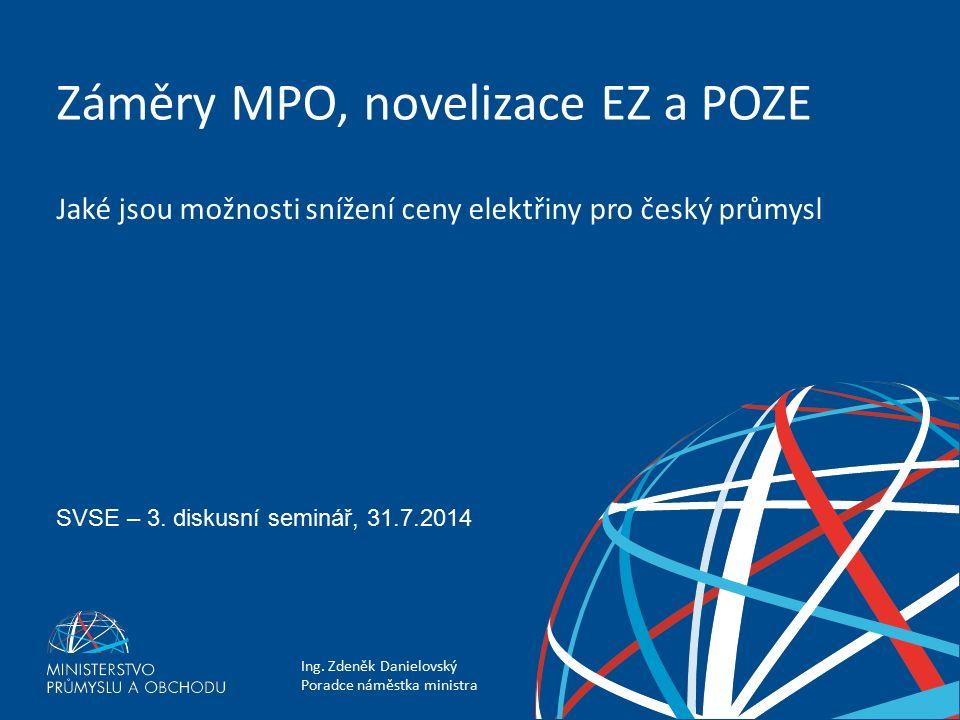 Ing. Zdeněk Danielovský Poradce náměstka ministra Záměry MPO, novelizace EZ a POZE SVSE – 3.