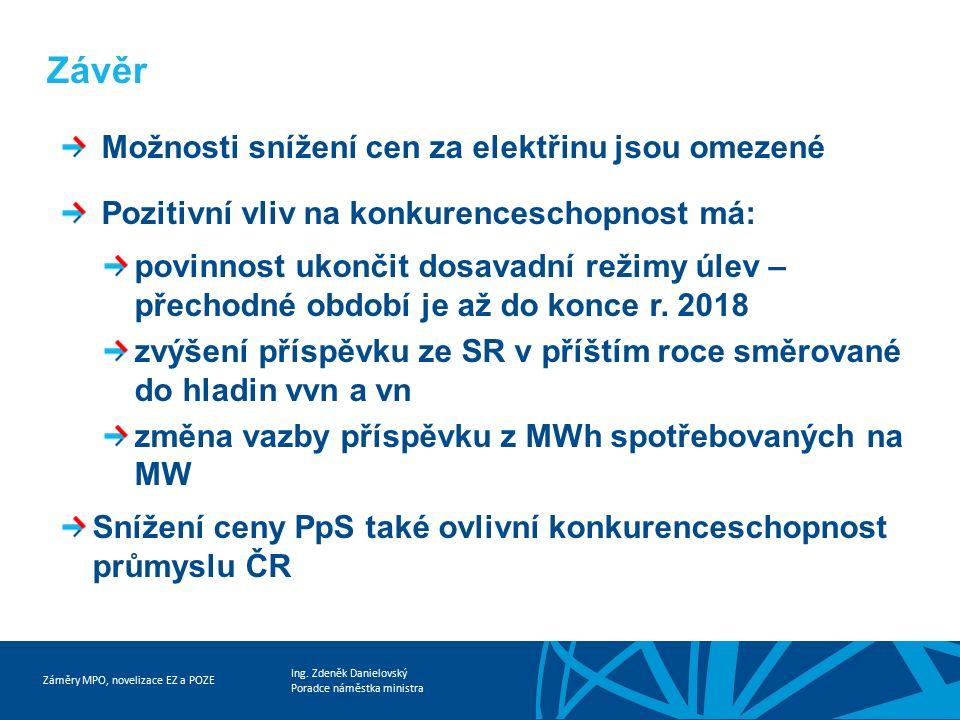 Záměry MPO, novelizace EZ a POZE Ing. Zdeněk Danielovský Poradce náměstka ministra Závěr Možnosti snížení cen za elektřinu jsou omezené Pozitivní vliv