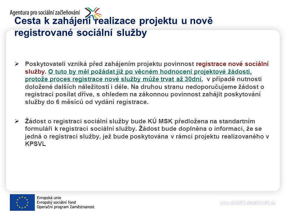 www.socialni-zaclenovani.cz Cesta k zahájení realizace projektu u nově registrované sociální služby  Poskytovateli vzniká před zahájením projektu povinnost registrace nové sociální služby.