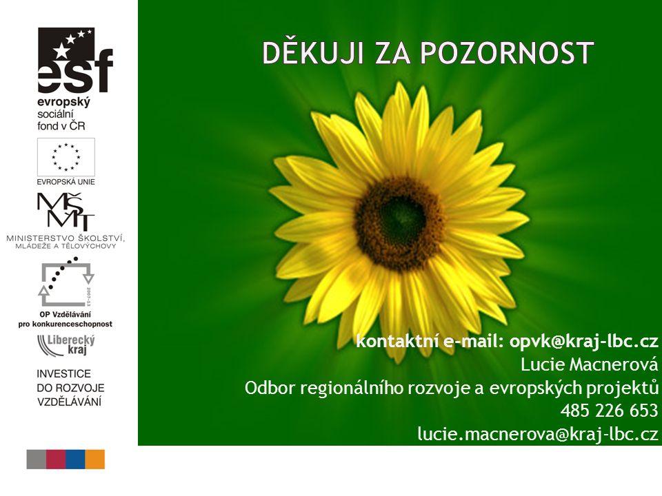 kontaktní e-mail: opvk@kraj-lbc.cz Lucie Macnerová Odbor regionálního rozvoje a evropských projektů 485 226 653 lucie.macnerova@kraj-lbc.cz