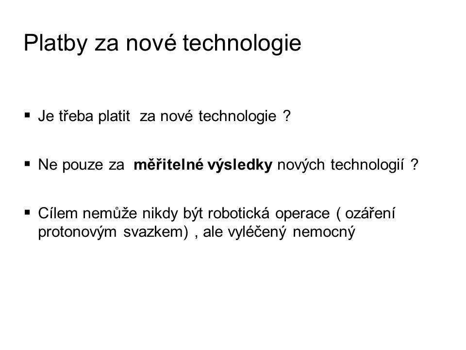 Platby za nové technologie  Je třeba platit za nové technologie .