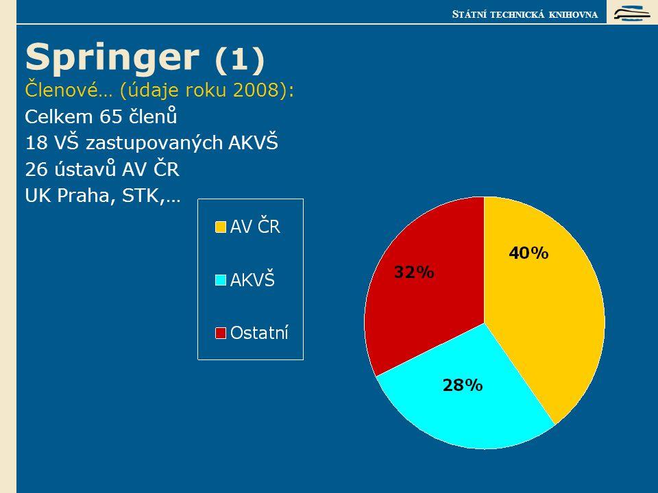 S TÁTNÍ TECHNICKÁ KNIHOVNA Springer (1) Členové… (údaje roku 2008): Celkem 65 členů 18 VŠ zastupovaných AKVŠ 26 ústavů AV ČR UK Praha, STK,…