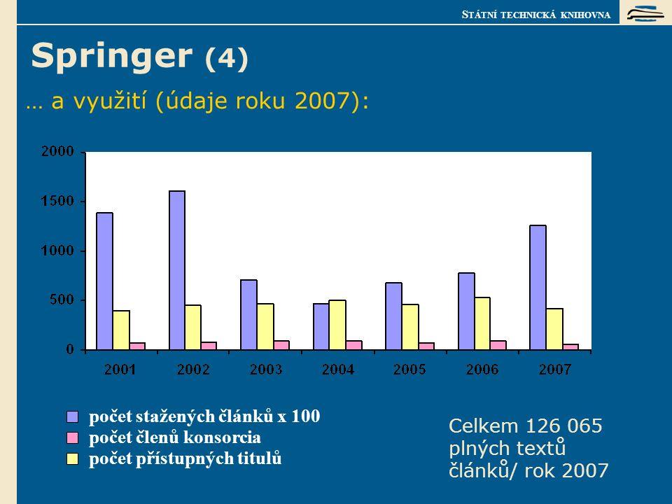 S TÁTNÍ TECHNICKÁ KNIHOVNA Springer (4) … a využití (údaje roku 2007): počet členů konsorcia počet stažených článků x 100 Celkem 126 065 plných textů článků/ rok 2007 počet přístupných titulů