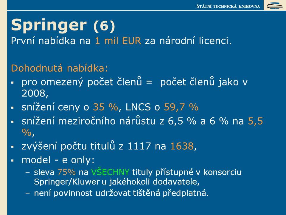 S TÁTNÍ TECHNICKÁ KNIHOVNA Springer (6) První nabídka na 1 mil EUR za národní licenci.